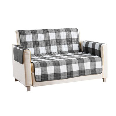Checkerboard Reversible Waterproof Microfiber T-cushion Armchair Slipcover Upholstery: Gray, Size: 75 H x 92 W x 2 D