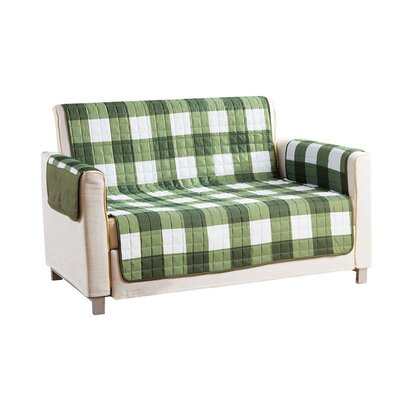 Checkerboard Reversible Waterproof Microfiber T-cushion Armchair Slipcover Upholstery: Sage, Size: 75 H x 92 W x 2 D