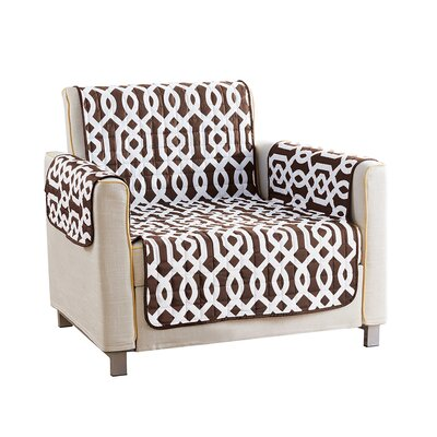 Reversible Waterproof Microfiber T-cushion Armchair Slipcover Upholstery: Brown, Size: 75 H x 69 W x 2 D