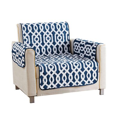 Reversible Waterproof Microfiber T-cushion Armchair Slipcover Upholstery: Navy , Size: 75 H x 69 W x 2 D