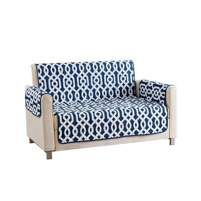 Reversible Waterproof Microfiber T-cushion Armchair Slipcover Upholstery: Navy , Size: 75 H x 92 W x 2 D