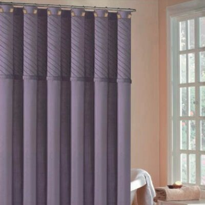DR International Annecy Pin Tuck Shower Curtain In Purple