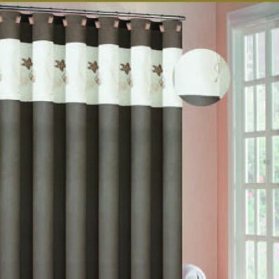 Oceana Embroidered Shower Curtain in Coffee