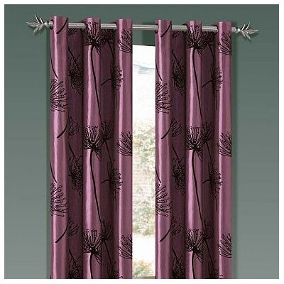 Soleil Taffeta Flock Grommet Panel in Purple