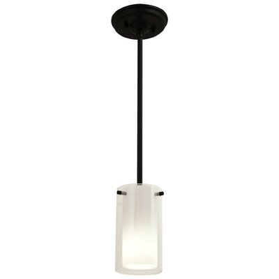 Essex 1-Light Mini Pendant Shade Color: Half Opal, Finish: Graphite