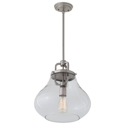 Coronado 1-Light Schoolhouse Pendant Shade Color: Clear, Finish: Satin Nickel