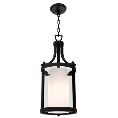 Essex 1-Light Foyer Pendant Finish: Graphite, Shade Color: Half Opal