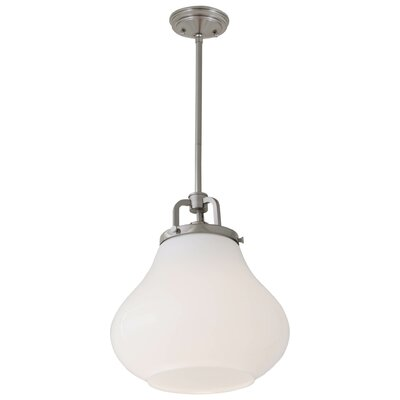 Coronado 1-Light Schoolhouse Pendant Shade Color: True Opal, Finish: Satin Nickel