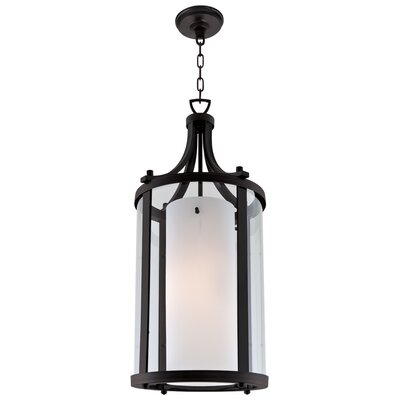 Essex 2-Light Foyer Pendant Finish: Graphite, Shade Color: Half Opal