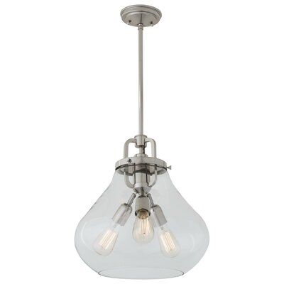 Coronado 3-Light Schoolhouse Pendant Finish: Satin Nickel, Shade Color: Clear
