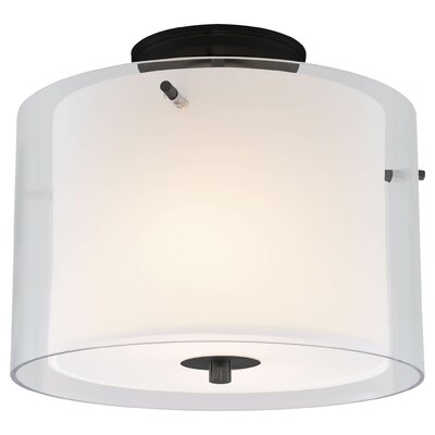 Essex 2-Light Semi Flush Mount Finish: Graphite, Shade Color: Half Opal