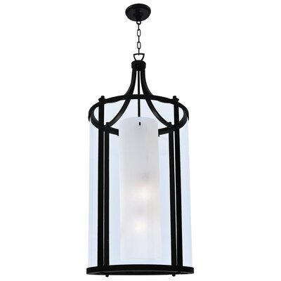 Essex 4-Light Foyer Pendant Finish: Graphite, Shade Color: Half Opal
