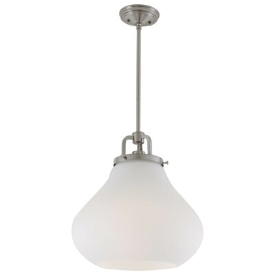 Coronado 3-Light Schoolhouse Pendant Finish: Satin Nickel, Shade Color: True Opal