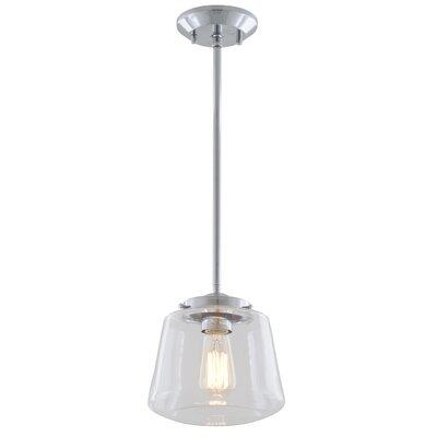 Levant 1-Light Mini Pendant Finish: Chrome, Shade Color: True Opal Glass