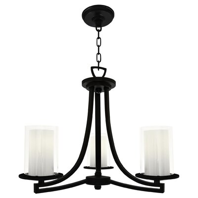Essex 3-Light Shaded Chandelier Shade Color: Half Opal, Finish: Graphite
