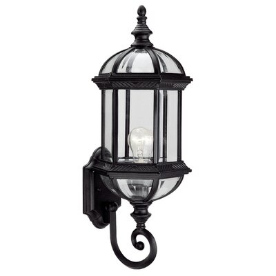 Hexagon 1-Light Outdoor Wall lantern Shade Type: Clear Beveled