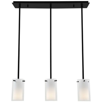 Essex 3-Light Kitchen Island Pendant Finish: Graphite, Shade Color: Half Opal