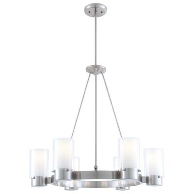Essex 6-Light Shaded Chandelier Finish: Buffed Nickel, Shade Color: Half Opal