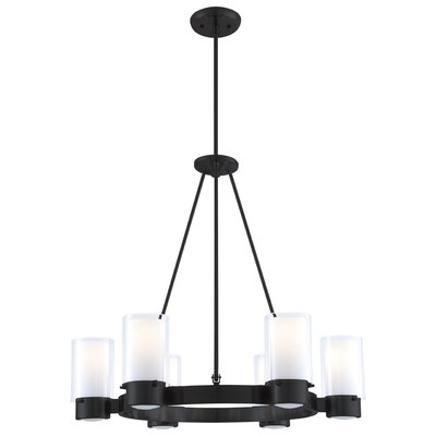Essex 6-Light Shaded Chandelier Finish: Graphite, Shade Color: Half Opal