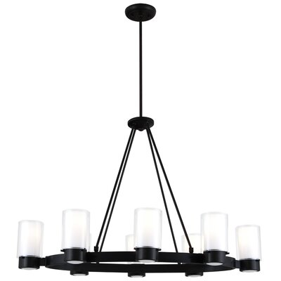 Essex 8-Light Candle-Style Chandelier Shade Color: Half Opal, Finish: Graphite
