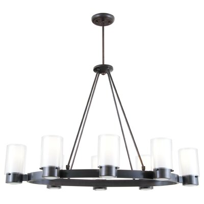 Essex 8-Light Candle-Style Chandelier Finish: Oil Rubbed Bronze, Shade Color: Half Opal