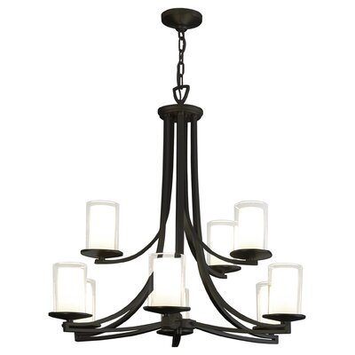 Essex 9-Light Shaded Chandelier Finish: Graphite, Shade Color: Half Opal