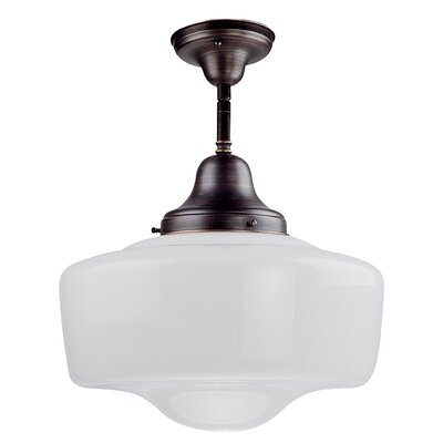 1-Light Schoolhouse Semi Flush Finish: Satin Nickel