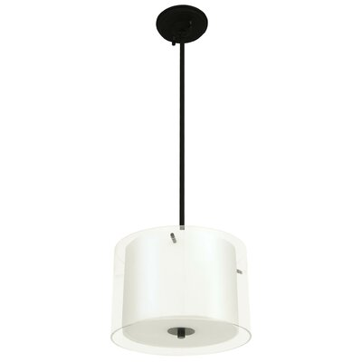Essex 3-Light Drum Pendant Shade Color: Half Opal, Finish: Chrome