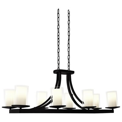 Essex 8-Light Shaded Chandelier Finish: Graphite, Shade Color: Half Opal