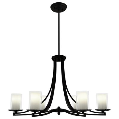 Essex 6-Light Shaded Chandelier Finish: Chrome, Shade Color: Half Opal