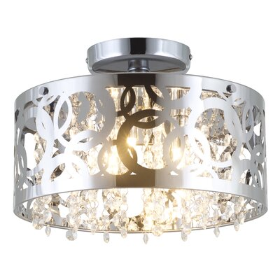 Woodstock 3-Light Semi Flush Mount Finish: Chrome