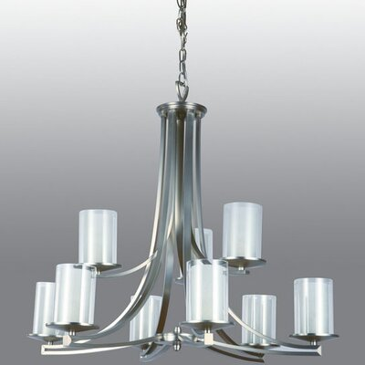 Essex 9-Light Shaded Chandelier Finish: Buffed Nickel, Shade Color: Half Opal