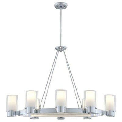 Essex 8-Light Candle-Style Chandelier Finish: Buffed Nickel, Shade Color: Half Opal