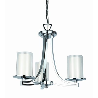 Essex 3-Light Shaded Chandelier Finish: Chrome, Shade Color: Half Opal
