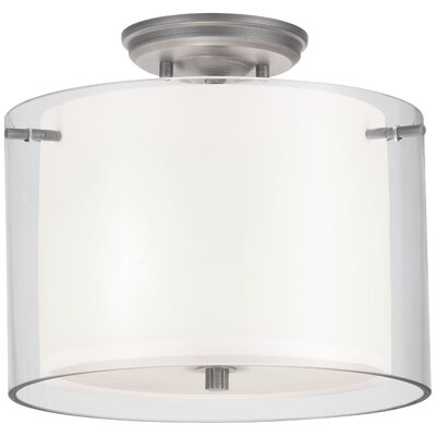 Essex 2-Light Semi Flush Mount Shade Color: Half Opal, Finish: Oil Rubbed Bronze