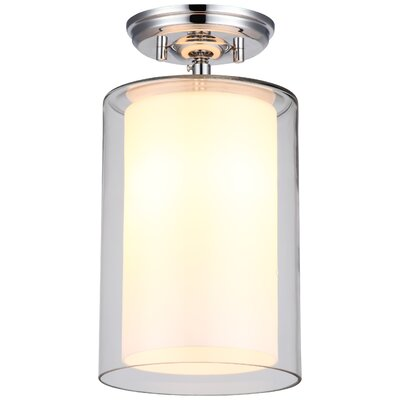 Sontag 1-Light Semi Flush Mount Finish: Chrome with Half Opal Glass Shade