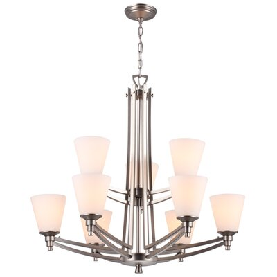 Georgetown 9-Light Shaded Chandelier Finish: Buffed Nickel