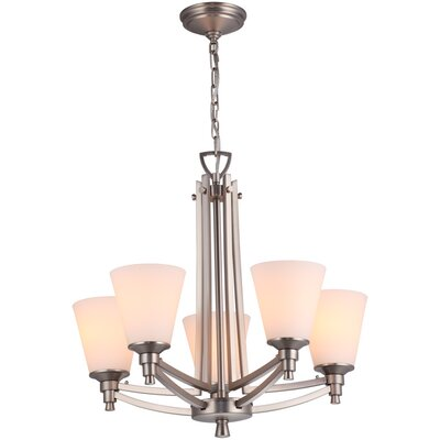 Georgetown 5-Light Shaded Chandelier Finish: Buffed Nickel