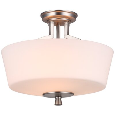 Georgetown 1-Light Semi Flush Mount Finish: Buffed Nickel with Half Opal Glass, Size: 16