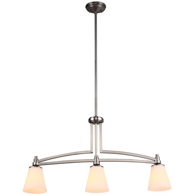 Georgetown 3-Light Linear Pendant Finish: Buffed Nickel, Size: 5 W