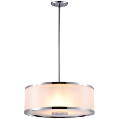 Milan 3-Light Drum Pendant Finish: Chrome, Size: 18.5 W