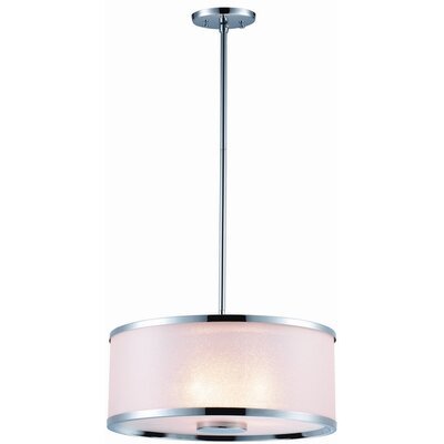 Milan 3-Light Drum Pendant Finish: Chrome, Size: 16 W