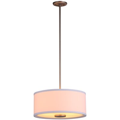 Milan 3-Light Drum Pendant Finish: Mocha with Sateen White Shade, Size: 16 W