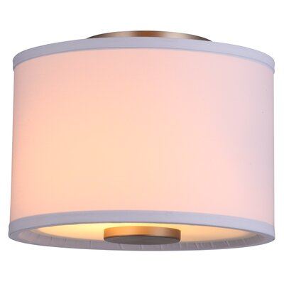 Milan 2-Light Flush Mount Finish: Mocha with Sateen White Shade