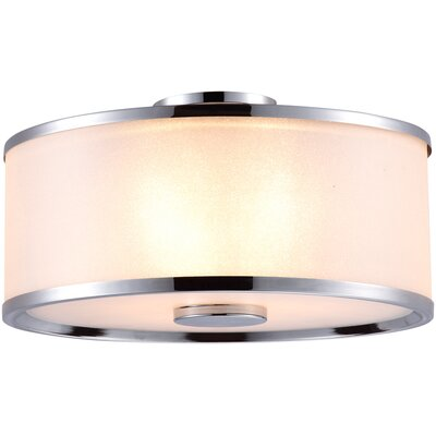 Milan 3-Light Flush Mount Finish: Mocha with Sateen White Shade