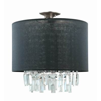 Piccadilly 3-Light Semi Flush Mount Finish: Buffed Nickel with Black Fabric Shade