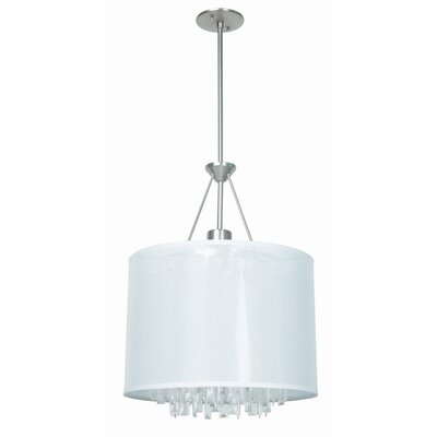 Piccadilly 3-Light Drum Pendant Finish: Buffed Nickel with White Fabric Shade