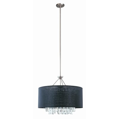 Piccadilly 5-Light Drum Pendant Finish: Buffed Nickel with Black Fabric Shade