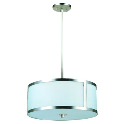 Uptown 3-Light Drum Pendant Size: 18.5 W, Finish: Satin Nickel with Vanilla Glass