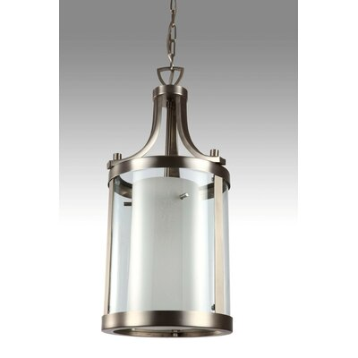Essex 1-Light Foyer Pendant Finish: Buffed Nickel, Shade Color: Half Opal